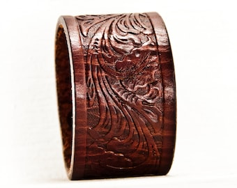 Tooled Leather Jewelry - 2016 Western Cowboy Cowgirl Bracelets - Embossed, Carved, Etched, Leathercraft, Stamped Leather Cuff
