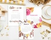 30% OFF! 2016 Desk Calendar. Monthly Calendar with Display Case. 2016 Desk Calendar. Watercolor Calendar. Hand Drawn Calendar. Hostess Gift.