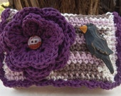 Crocheted Purse  ~  Purple Lavender Ecru and Brown with Crow Crocheted Cotton Little Bit Purse