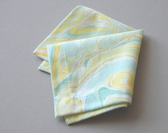 Set of Six Marbled Cocktail Napkins in Yellow and Turquoise