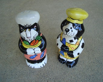 Dog and Cat Chefs Salt and Pepper Shakers