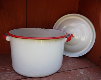 Vintage Enamelware Red White Small Pot with Lid Farmhouse Rustic Primitive Shabby