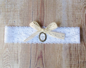 Jane Eyre Bridal Garter Stretch Lace I Married Him Quote. White Wedding Brass Cameo. Charlotte Bronte Bow. Two Cheeky Monkeys Literature