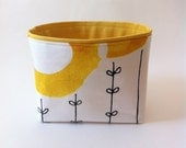 NEW size // small fabric storage bin // modern // yellow water color circles