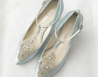 Art Deco Something Blue Wedding Shoes Great Gatsby Crystal Applique T-Strap Kitten Heel Silk Satin Bridal Shoes Bella Belle Annalise Blue