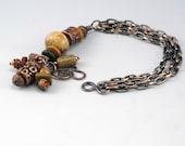 Boho Bracelet, Copper Bracelet, Chain Bracelet, Copper Jewelry, Ceramic Beads, Copper Gift, Bracelet Gift, Gift for Her, MultiChain Bracelet