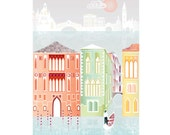 Venice Print, Skyline Wall Art Print. Cityscape A4 Paper Art Print, Poster for Home, Office, Childs, Kids room and Nursery decor, gift for