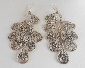 Balinese chandelier Silver 925 Earrings / Bali handmade earrings / silver 925 / 3 inches long