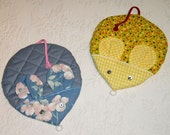 Mouse Potholder made from quilted fabric with appliqued face and button eyes. Ready to ship.