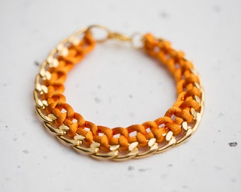 Gold Chain Braided Bracelet Orange Cord friendship bracelet Modern minimalist jewelry cinnamon