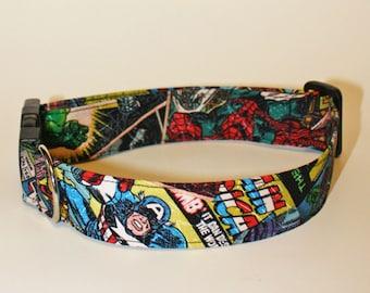 Dogs Love Marvel Too Fabric Collar