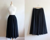 Vintage Black Chiffon Full Circle Skirt / Black Midi Skirt