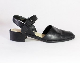 Vintage Black Leather Chunky Low Heel Mary Janes, size 8.5