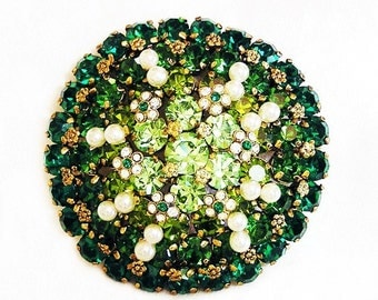 Austria Large Emerald Green, Peridot and Pearl Brooch