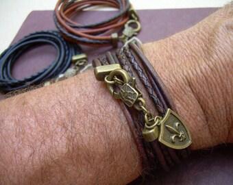 Fleur De Lis Triple Wrap Leather Bracelet, Mens Jewelry, Mens Bracelet, Womens Bracelet, Womens Jewelry, Fleur De Lis, Wrap Bracelet,Jewelry