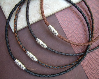 Mens Braided Leather Necklace with Stainless Steel Magnetic Clasp, Leather Necklace,Mens Jewelry,Mens Necklace, Mens Gift, Necklace, Jewelry