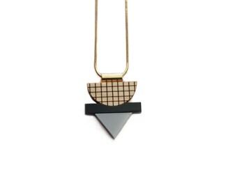 Mini grid necklace / Grey