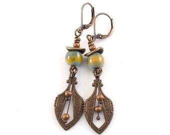 Antique Brass Boho Earrings - Enamel Copper Earrings - Boho Earrings - Vintaj Brass Earrings - Long Earrings - Industrial Earrings - AE007