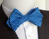 Blue and Aqua Chevron Bowtie         EASTER is March 27th!                         2 weeks before shipping