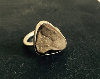 Taupe Druzy Geode Ring