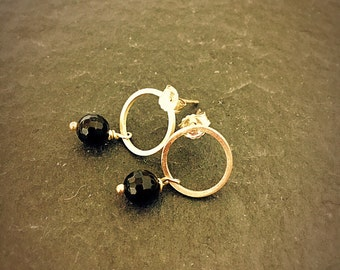 Sterling Silver Circle Post Earrings with Black Onyx Drop
