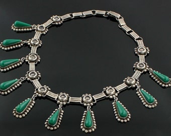 1930's Sterling Mexican Vintage Necklace w/Green Stones