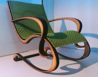 Art Nouveau style green armchair , 1/12 miniature for dollhouses