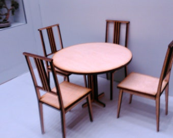 Miniature modern wooden round table with 4 chairs, IKEA inspired, natural wood colour 1/12 scale for dollhouses