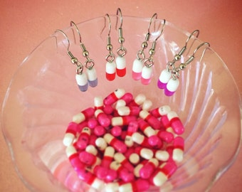 Happy Pill Earrings - Surgical Steel Hooks