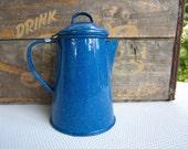 Vintage Blue Speckle Enamel Coffee Pot Country Camp Decor
