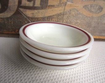 Vintage Pyrex Tableware Red Maroon  Band on White Fruit Dessert Bowls set of 4