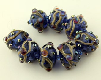 SRA Lampwork Hollow Glass Beads, Organic Set, Cobalt Blue, Hollow Beads with Iridescent Dots