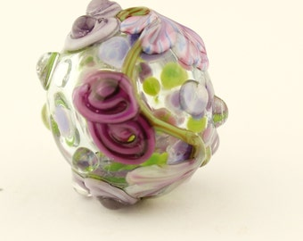 Hollow Lampwork Glass Bead with Lavender Flowers and Purple Roses, 'Kissing Ball'