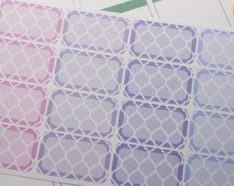 16 Half Box Stickers Moroccan Style Jewel Tone Blue Purple Planner Stickers eclp PS146