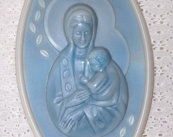 Vintage Blue Plastic Madonna and Child wall plaque