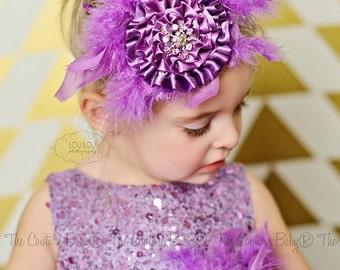Purple Pizazz Couture Feather Headband
