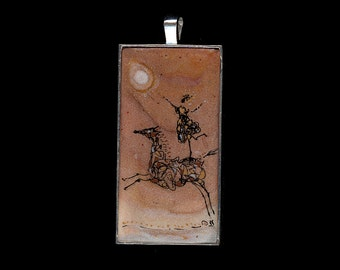 Horse Jewelry: Playing with the Sun II. Silver Bezel Pendant. Original Ink Drawing on Gold Polymer Clay. Gold White, Copper, Black 3894