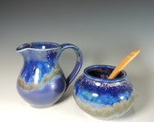 Pitcher and Sugar Bowl Set in Purple Rain Glaze / Creamer and Sugar Set / Serving / Entertaining