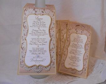 Bridesmaid Wine Bottle Tags - Custom Wedding Tags - Wine Tags - Bottle Gift Tags - Liquor Bottle Tags