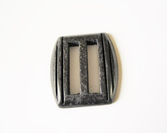 Antique sash buckle: shabby chic 1960s solid deep brown embellished lucite chunky square scored belt buckle, sash buckle, sixties