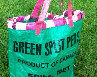 Plarn and Plastic Burlap Tote - Green and Pink