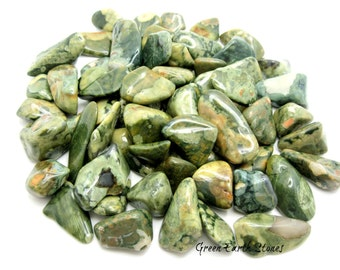 TWO Medium Rainforest Rhyolite Tumbled Stones, Pocket Stone, Crystal Healing, Rock Hound, Wire Wrapping, Grids, Feng Shui