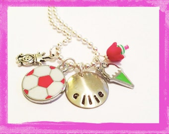 SOCCER Necklace - Personalized Princess Soccer Ball  Necklace for Girls - Custom Jewelry #S68