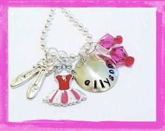 Ballet Necklace - Hand Stamped Necklace -  Dance Personalized Necklace  BUBBLEGUM Ballerina Necklace for Children - #D11