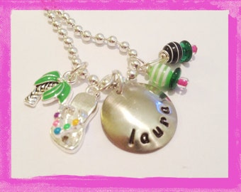 Charm Necklace for Girls - Personalized with any name you choose - Flip flops - Palm Tree Beach Necklace #G620