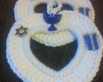 Crochet Photo frame, Heart, Hanukkah Frame, Teacher Gift, Ornament