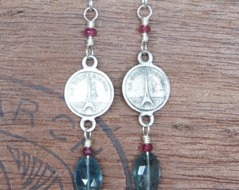 Antique Assemblage Earrings with Eiffel Tower links, rubies and moss aquamarine
