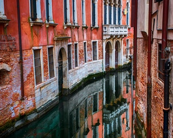 Red buildings and canal in Venice, photograph Italy, photo Venice, pink salmon fuschia wall art home decor en82