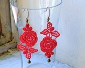 Small Rose Lace Earrings // Red / Baby Blue / Dark Blue Teal Ombre / Beige Ombre / Black / lace / Valentines gift / lace earrings