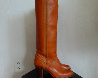 70s caramel brown LEATHER campus boots size 6